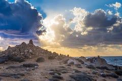 Zwyczajny quay Paphos, Cypr - zima, martwy sezon, atrakcja turystyczna Zdjęcie Stock
