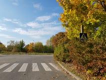 Zwyczajny skrzyżowanie w jesieni fotografia royalty free