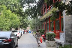Zwyczajny uliczny Lyulichan w w centrum Pekin obraz stock