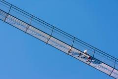Zwyczajny zawieszenie most dzwonił Highline 179 w Reutte, dłudzy 406 metrów w Austria, obrazy royalty free