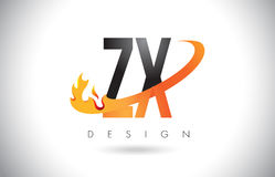 ZX Z X Letter Logo with Fire Flames Design and Orange Swoosh. ZX Z X Letter Logo Design with Fire Flames and Orange Swoosh Vector Illustration Stock Photos