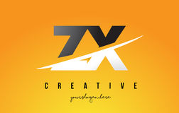 ZX Z X Letter Modern Logo Design with Yellow Background and Swoo Royalty Free Stock Photo