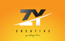 ZY Z Y Letter Modern Logo Design with Yellow Background and Swoo Royalty Free Stock Photography
