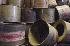 Zyclon B cans Stock Photo