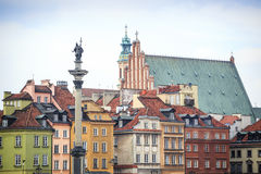 Zygmunt Column monument in the city center of Warsaw, Poland Stock Images