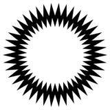 Zygzakowaty zirytowany okręgu element Abstrakcjonistyczny monochromatyczny okrąg ilustracja wektor