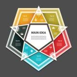 Zyklisches Diagramm mit fünf Schritten und Ikonen Lizenzfreies Stockbild