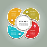 Zyklisches Diagramm mit vier Schritten und Ikonen Stockfotografie