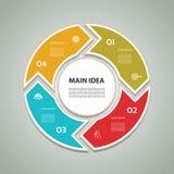 Zyklisches Diagramm mit vier Schritten und Ikonen Stockfotos