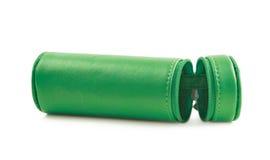 Zylinderförmiger Bleistiftkasten lokalisiert Lizenzfreie Stockfotos