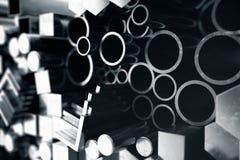 Zylinderförmiges Metallstahlprofile, sechseckiges Metallstahlprofile, quadratische Metallstahlprofile Unterschiedlicher Edelstahl vektor abbildung