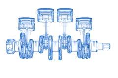 Zylinderkurbel (Blau des Röntgenstrahls 3D auf Weiß) Lizenzfreies Stockbild