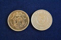 Zypern-Cents - Münzen von verschiedenen Bezeichnungen Stockbild