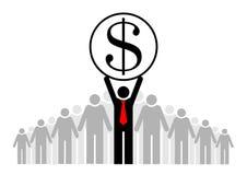 Zysk i dochód jesteśmy główną rzeczą Drużyna lub społeczność Grupa ludzi, swój szef i lider lub royalty ilustracja