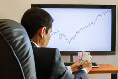 Zyski w rynkach finansowych w euro fotografia stock