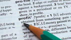 Zyskuje, definicja w angielskim słownictwie, biega pomyślnego biznes, korzyści zbiory wideo