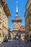 Zytglogge - Basztowy zegar od zachodniej strony w Bern Fotografia Stock