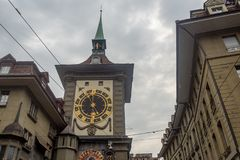 Zytglogge,Beautiful Clock Tower the Landmark of Bern on cloudy sky background royalty free stock photos