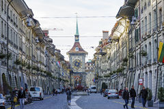 Zytglogge at the end of the Kramgasse in Bern Stock Photography