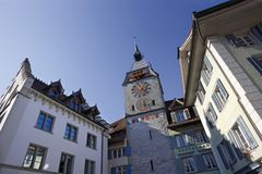 Zytturm clocktower in Zug. Zytturm clocktower in the city of Zug in Switzerland. Photo taken October 4, 2009 Stock Photos