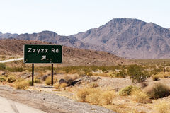 Zzyzx road exit in California. Zzyzx is the last word in the dictionary and is a road in the california desert stock photos
