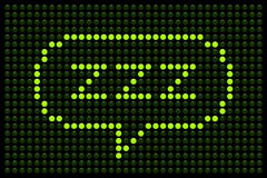 ZZZ LED Board. ZZZ message displayed on a green LED Board vector illustration