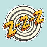 Zzz sound sleep and zumm. Pop art comic illustration. Label sticker cutting contour Royalty Free Stock Photo