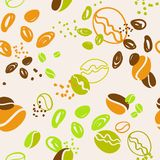 Seamless pattern with grains of coffee royalty free illustration