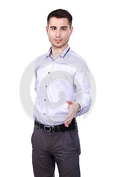 Businessman giving hand for handshake, isolated on white background