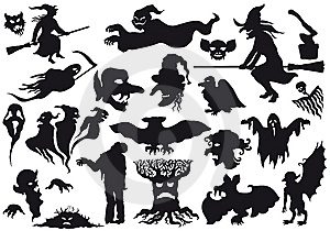 ������Halloween monsters silhouettes