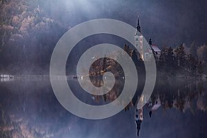 View Island with Catholic Church in Bled Lake. Bled is one of the most amazing tourist attractions in Slovenia. Concept Winter Lan