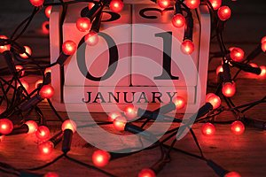 January 1st calendar with red fairy lights
