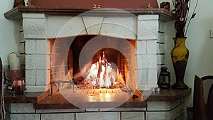 Fireplace fire marble heat winter
