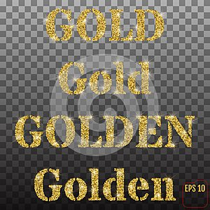 The words gold and golden