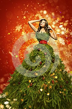 Christmas Tree Fashion Dress, Woman Art Xmas Gown, New Year Girl