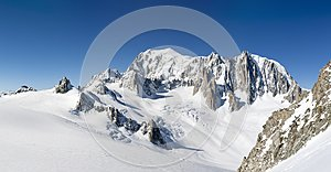 Mont Blanc, east face. Extra-large panorama of Mont Blanc Massif