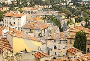 Old French town rooftops
