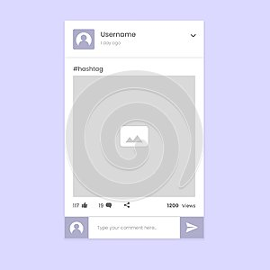 Social Media Photo share app UI.