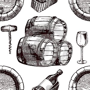 Wine pattern sketch background vector seamless winemaking barrel, grape vine glass and corkscrew