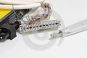 IP Telephony system, Telephone cabling patch panel with twisted pairs cables for digital and analog phone connected to sip trunk v