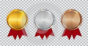 Champion Gold, Silver and Bronze Medal Template with Red Ribbon. Icon Sign of First, Second and Third Place o