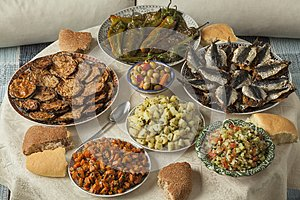 Moroccan meal with a variety of dishes