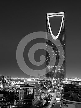 B&W night view of The Kingdom Tower `Al-Mamlaka` in Riyadh, Saudi Arabia
