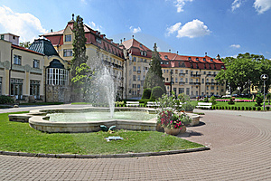 Fountain and buildings in piestany spa