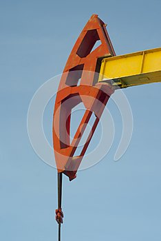 Red `horse head` of pumpjack