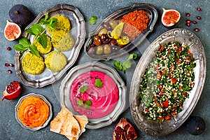 Middle Eastern traditional dinner. Authentic arab cuisine. Meze party food. Top view, flat lay