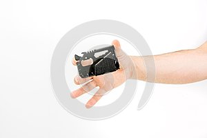 Hand Holding Survival Multi-functional Wallet Card Tool
