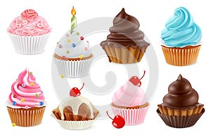 Cupcake, fairy cake. 3d vector icon set