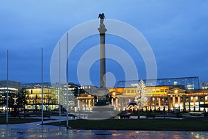 Palace Square in January evening. Stuttgart, Baden-Wurttemberg, Germany