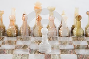 Marble chess in white